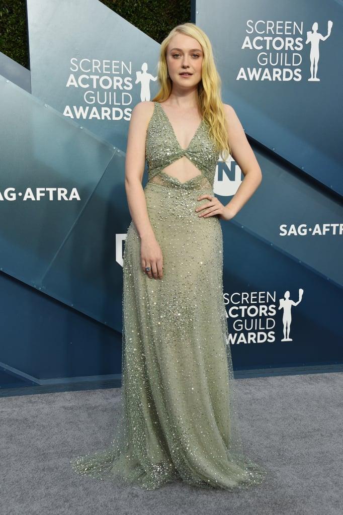 Dakota Fanning Green Valentino Gown at the SAG Awards 2020