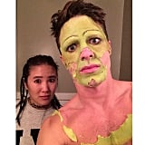 Colton Haynes showed us how it looked when he started peeling away the makeup for Princess Fiona from Shrek.