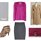 Color for the classic girl: a jolt of pink livens up a timeless look. DVF skirt ($296) Vanessa Bruno top ($155, originally $265) J. Crew coat ($260) Gorjana necklace ($88) DVF shoes ($375)  BDG wallet ($24)