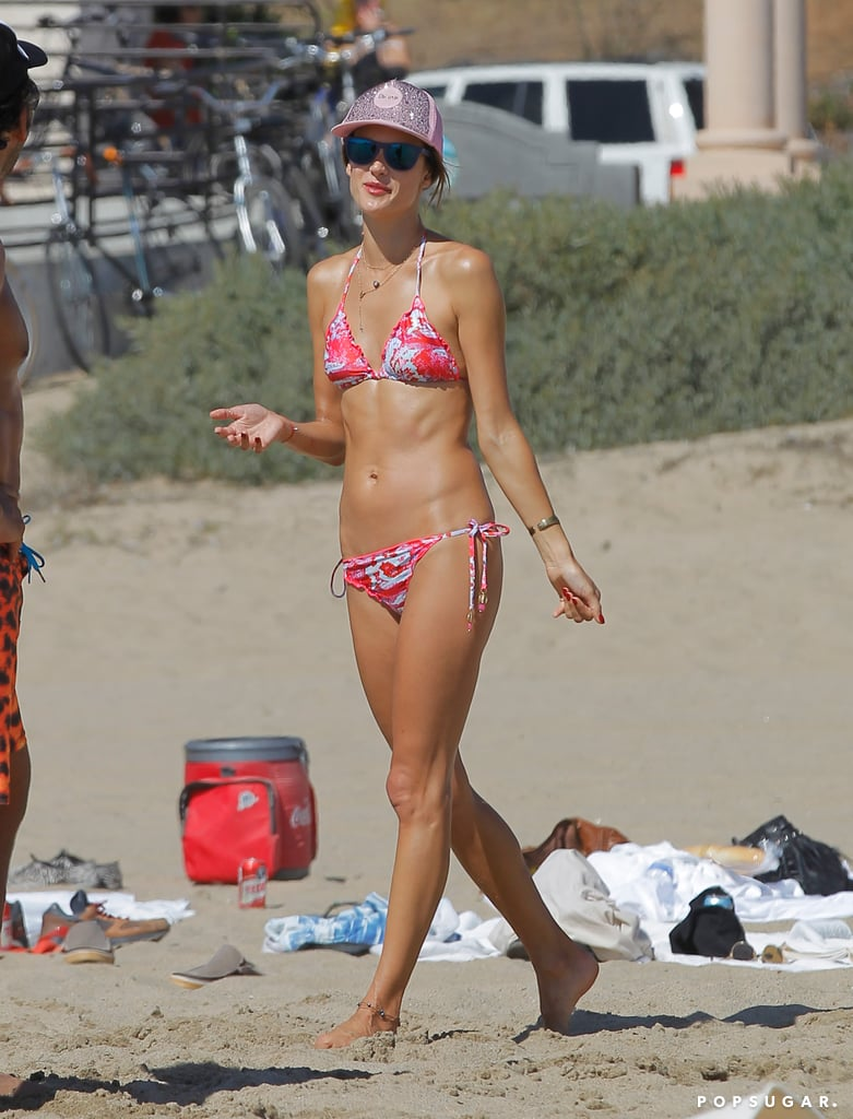 Alessandra Ambrosio hit the beach in her bikini.