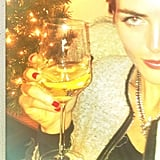 Hilary Rhoda enjoyed a holiday cocktail. Source: Instagram user hilaryhrhoda