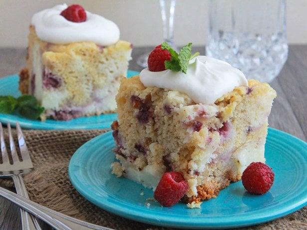 White Chocolate Raspberry and Cream Cake