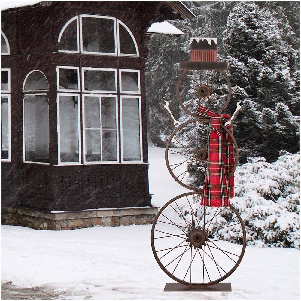 Metal Bike Wheel Snowman