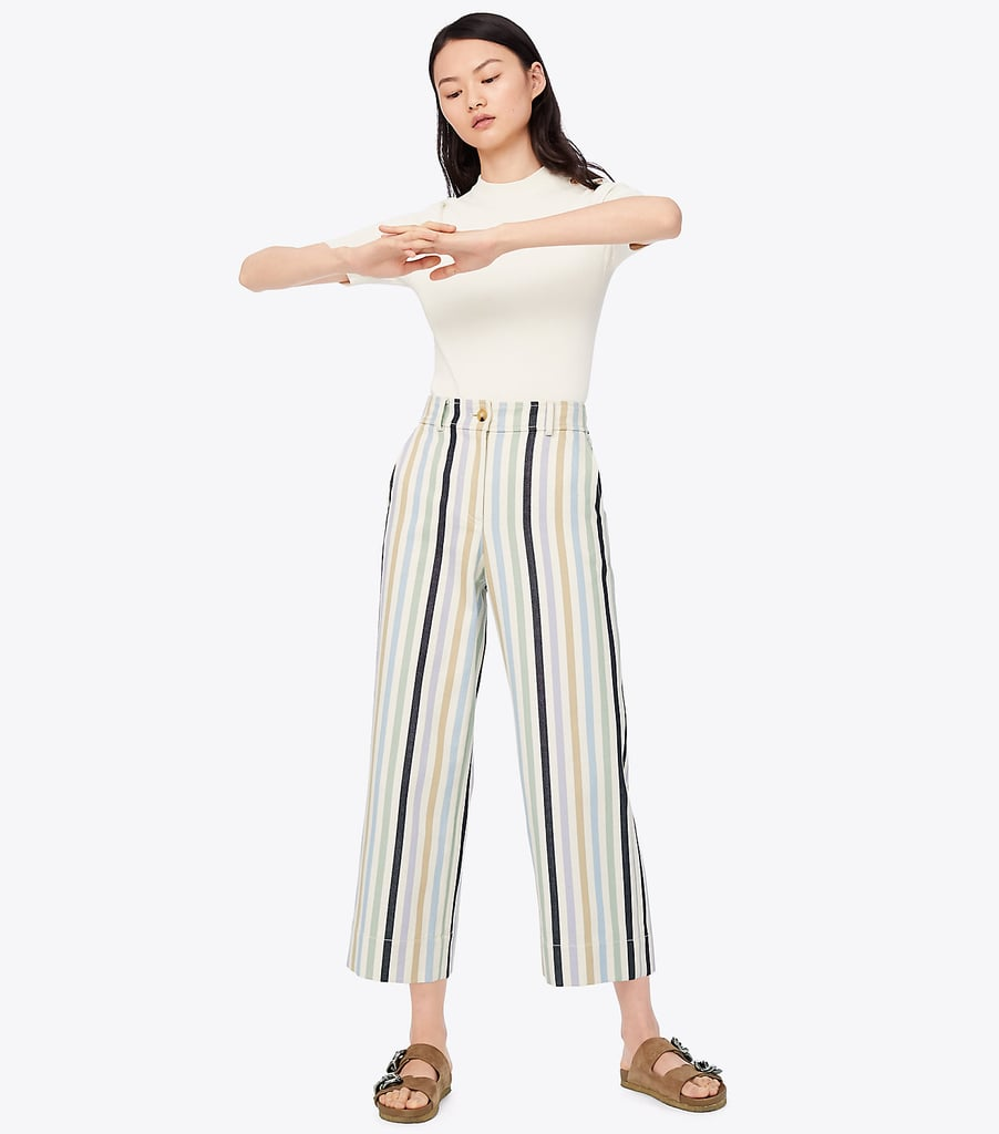 Tory Burch Striped Cropped Pant