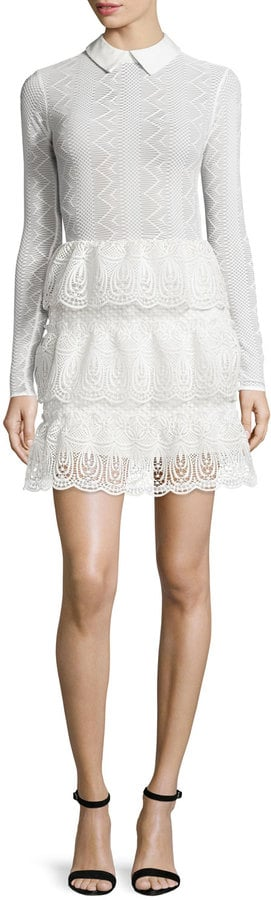 Self-Portrait Long-Sleeve Tiered Scalloped Lace Dress ($520)