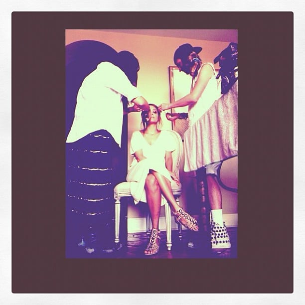Nicole Richie posted this pic of her hair and makeup artists readying her for an event.