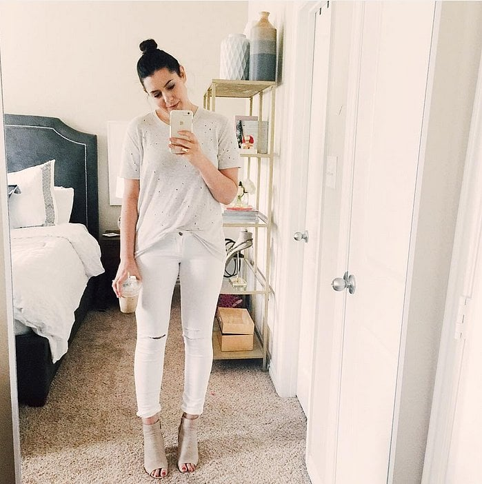 3a5897458a White Jeans, a White Tee, and Nude Booties   43 Outfits Everyone ...