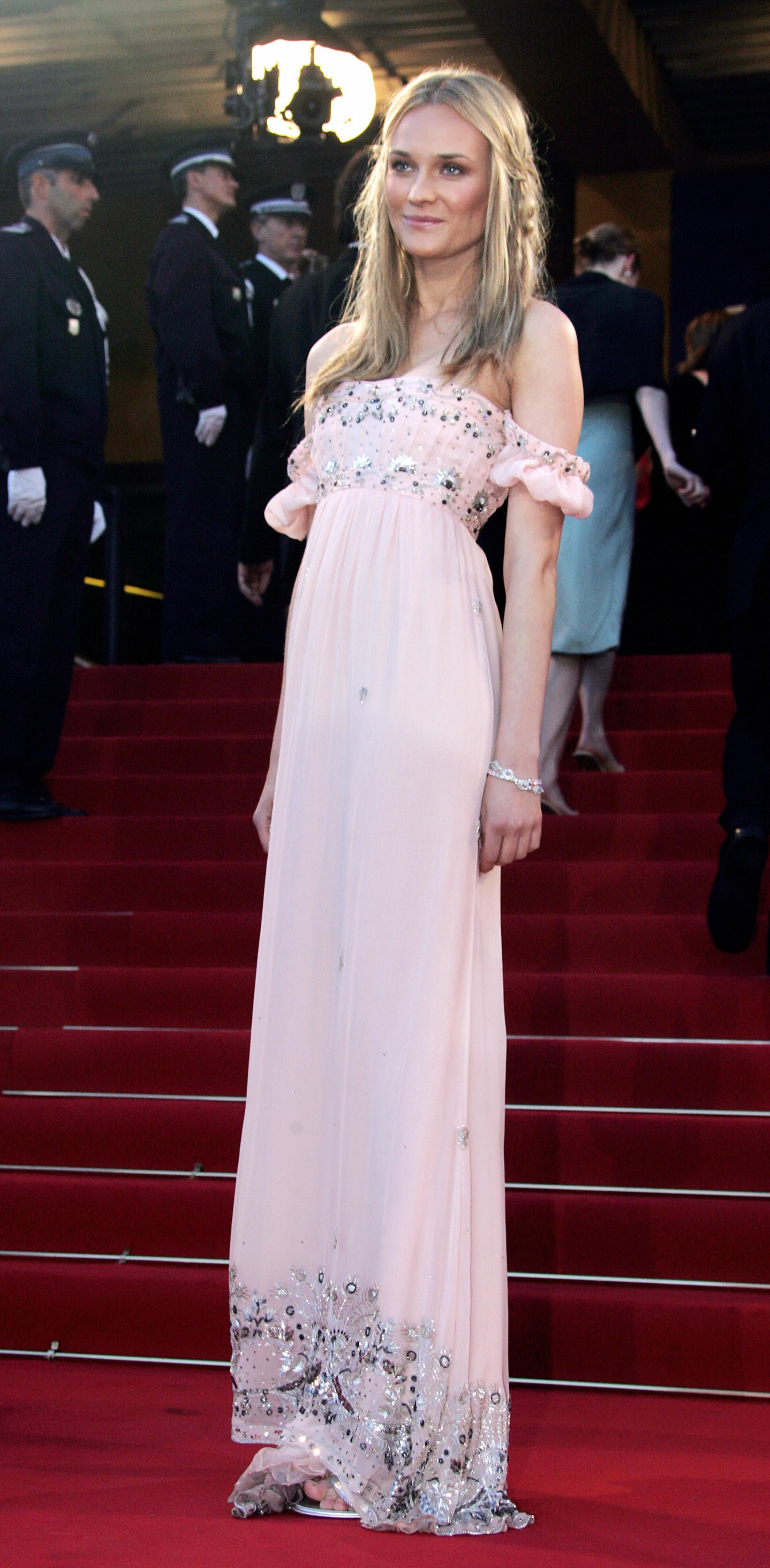 Diane went for bohemian goddess in this light-pink off-the-shoulder Roberto Cavalli number at the 2005 Cannes Film Festival.