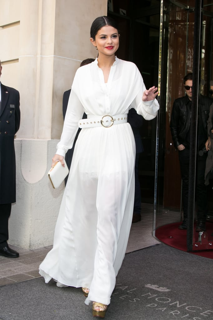 Fall staple: A long-sleeved maxi shirt dress by Elie Saab. Selena wore it with: Charlotte Olympia platform sandals and a matching clutch in Paris in September 2015.