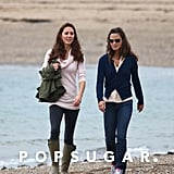 Kate and Pippa took a stroll along the scenic coastline on the island of Anglesey in Wales in 2011; Kate and Will lived in a farmhouse over the Welsh countryside until 2013, when they moved to their apartment in Kensington Palace.