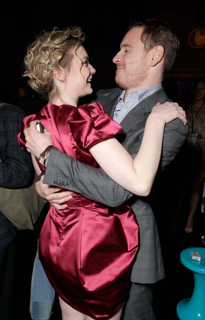 Michael Fassbender and his Jane Eyre leading lady Mia Wasikowska met up at the LA party for Shame in November 2011.