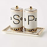 Anthropologie Bistro Tile Salt & Pepper Shakers with Tray
