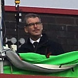 Pierce Brosnan sported a mustache and glasses on the set of his new thriller, Survivor, in London on Monday.