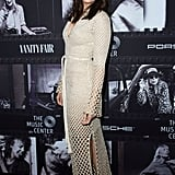 Mandy took our breath away with this crocheted maxi dress by Proenza Schouler at the JONI 75: A Birthday Celebration Live in November 2018.