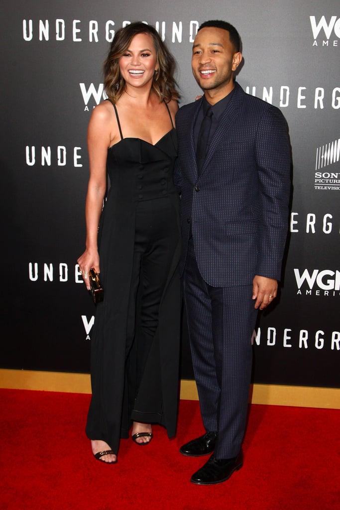 Chrissy Teigen and John Legend at Underground Premiere 2017