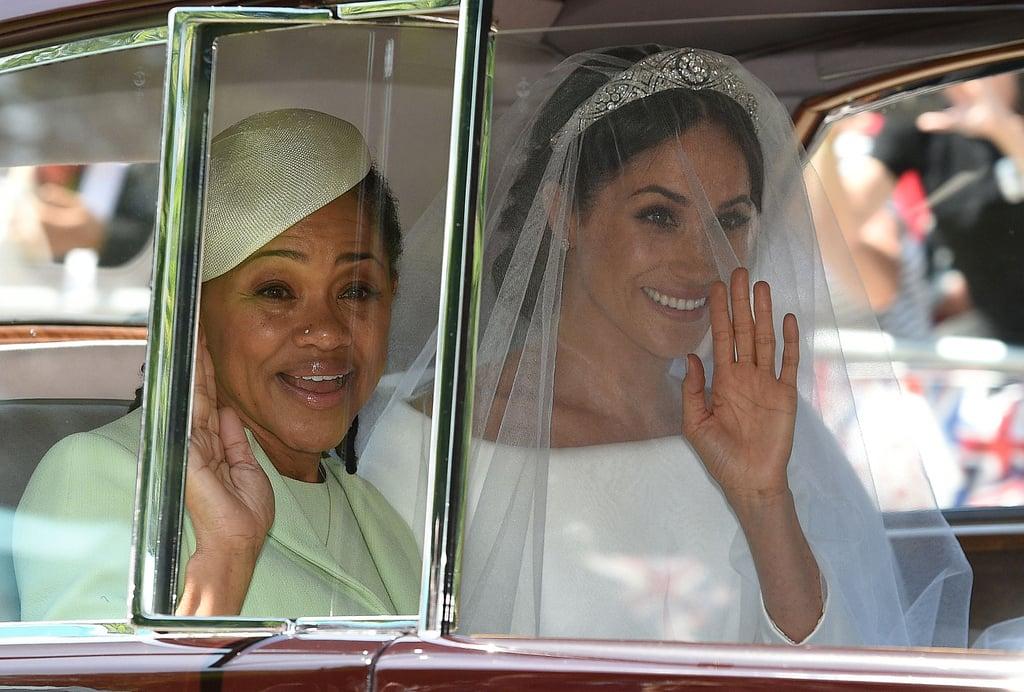 Znalezione obrazy dla zapytania meghan markle and mom royal wedding