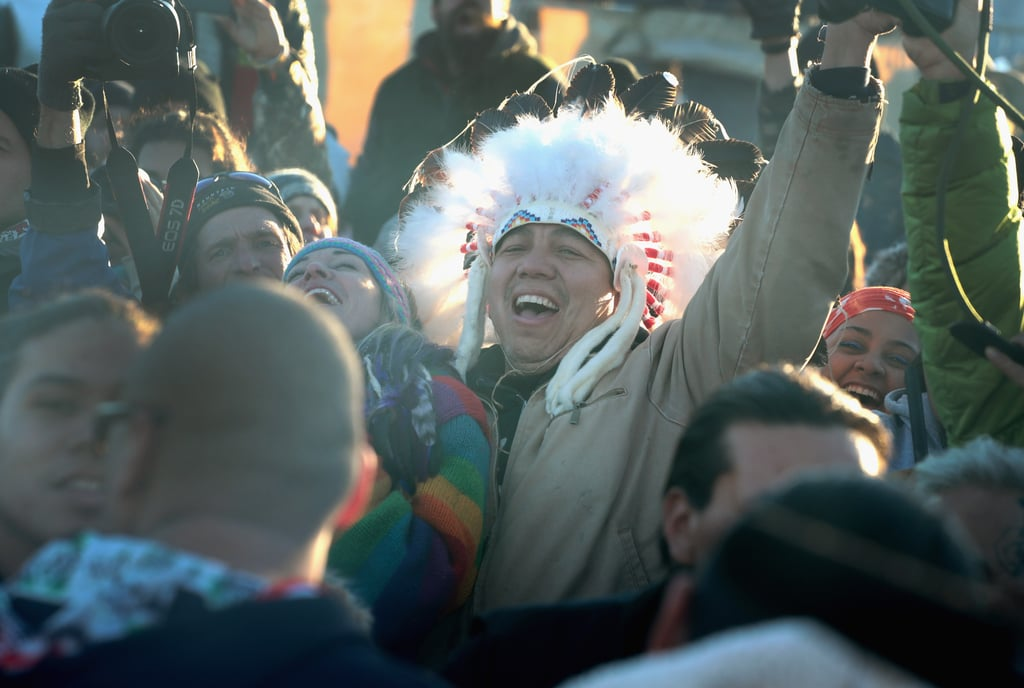 "After nearly nine months of oftentimes agonizing protests, the Army Corps of Engineers halted the construction of the Dakota Access Pipeline near the Standing Rock Sioux Tribe's reservation and the crucial Lake Oahe. As an alternative, the Army will begin looking at other possible routes for the pipeline. Following the announcement, protesters erupted into a tearful celebration that included music and fireworks. In a statement, Standing Rock Sioux Tribal Chairman Dave Archambault II said, ""Throughout this effort I have stressed the importance of acting at all times in a peaceful and prayerful manner — and that is how we will respond to this decision."" Adding, ""With this decision we look forward to being able to return home and spend the Winter with our families and loved ones, many of whom have sacrificed as well."" Look ahead for pictures of the emotional and historical event.      Related:                                                                Here's Why All Your Facebook Friends Are Checking In at Standing Rock                                                                   In Just 2 Minutes, Van Jones Perfectly Explains Why Standing Rock Matters So Much"