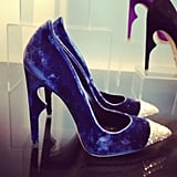 Luscious blue velvet and a shining cap toe make this Jerome Rousseau heel the perfect evening shoe.