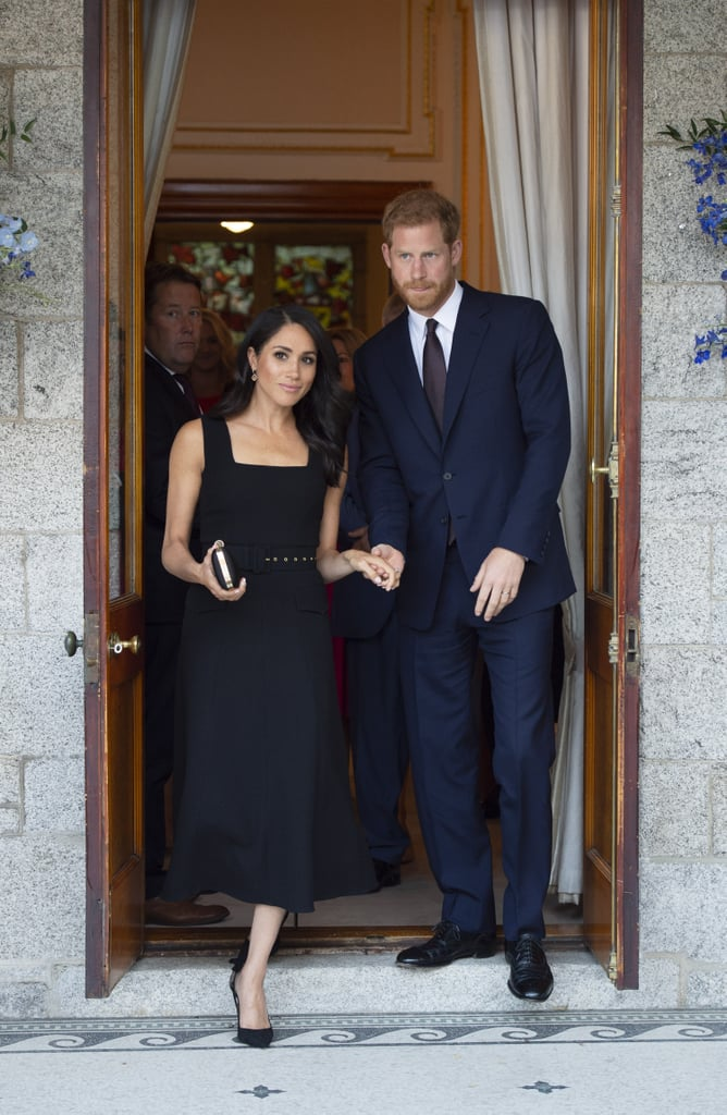 For a garden party in Dublin in July 2018, Meghan wore a black sleeveless dress by Emilia Wickstead. She finished her look with a black clutch, pendant earrings, and gorgeous Aquazzura heels.