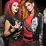 Kaia Kept Up With the Punk-Rock Theme in a Vintage Black Crop Top, Skirt, and Fishnet Tights