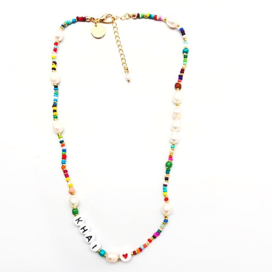 The Sis Kiss Custom Rainbow and Pearl Beaded Necklace