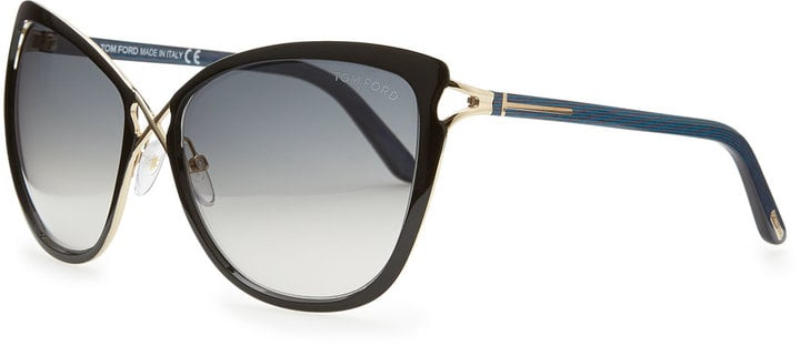 Tom Ford Celia Metal Cat-Eye Sunglasses, Black ($450)