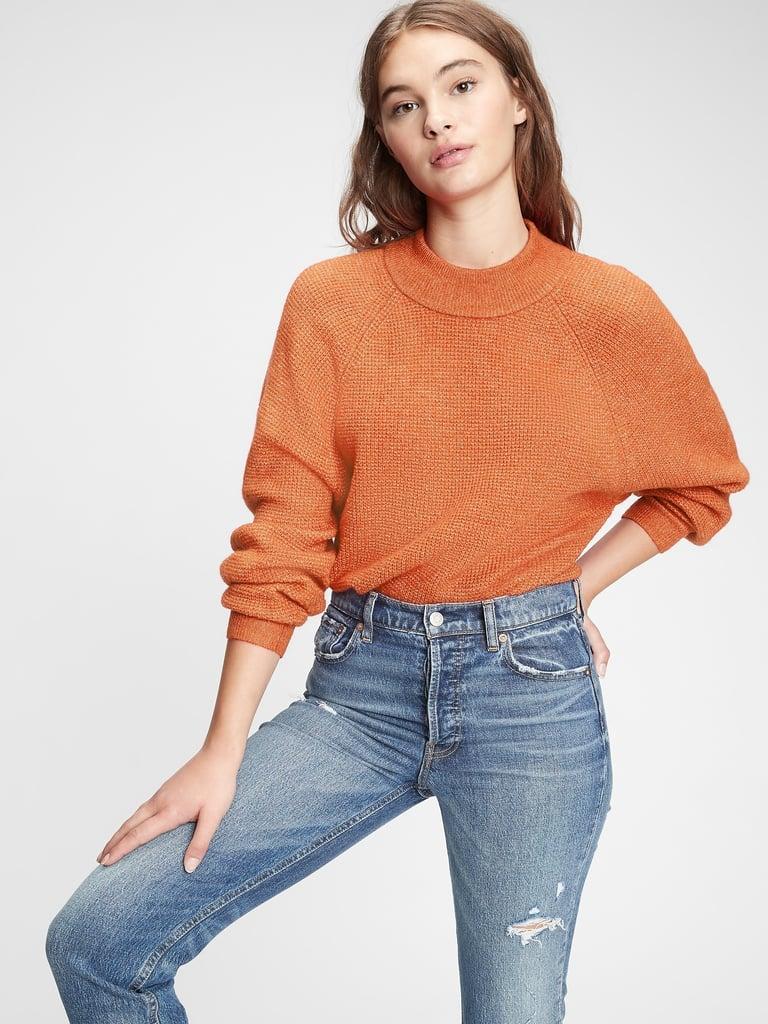 Gap Waffle-Stitch Mockneck Sweater