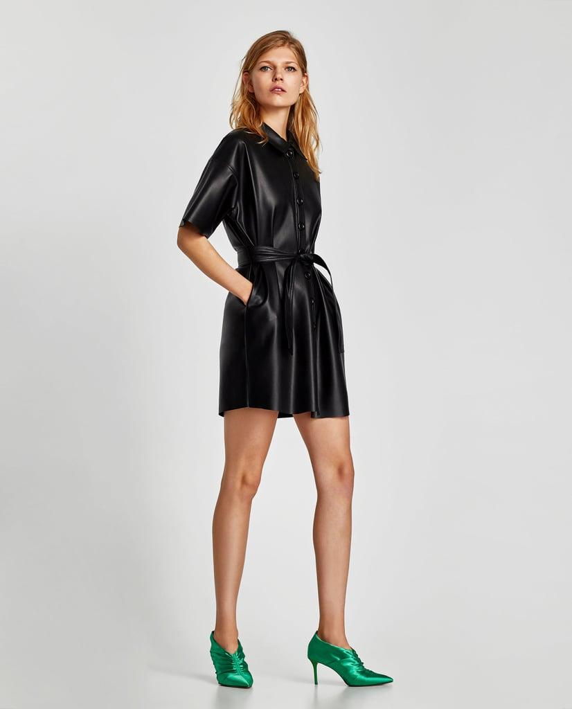 a5b59955b0856 Zara Faux Leather Shirt Dress | Best Zara Pieces Under $100 ...