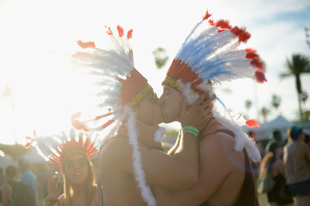 These fellas shared a kiss in costume at Coachella.