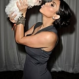Kim cuddled with a sweet puppy at the Race to Erase MS event in LA in May 2009.