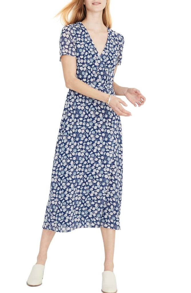 Floral Wrap Front Midi Dress