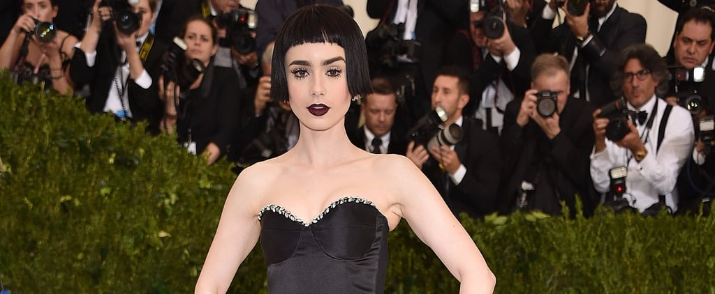 You'll Barely Recognize Lily Collins in Her Gothic Met Gala Gown