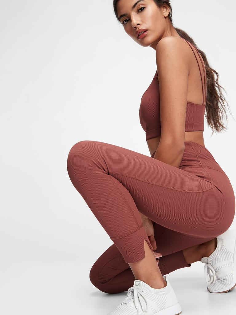GapFit High Waisted Ribbed Blackout Leggings and Blackout Ribbed Low Impact Sports Bra