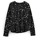 تي-شيرت طويل الأكمام بطبعة النّجوم الفضيّة