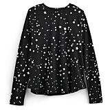 Silver Stars Print Long-Sleeved Tee