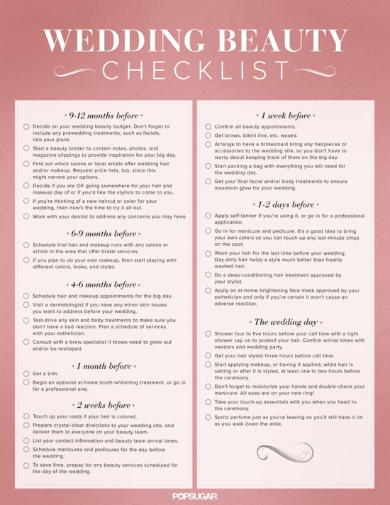 Download the ultimate wedding beauty planning checklist popsugar planning a wedding can be an exercise in patience but with this printable wedding beauty planning checklist in tow watch your worries melt away junglespirit Gallery