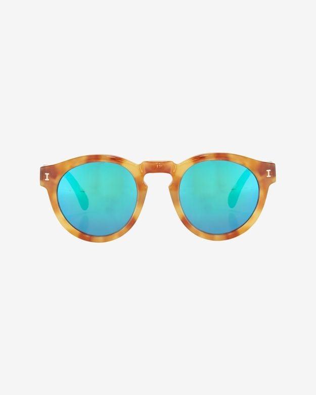 Illesteva Leonard Mirrored Lens Sunglasses: Amber/Green ($178)