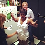 Kaling got prepped for her Varsity Blues parody scene with a shaving-cream bikini. Source: Instagram user mindykaling