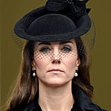 At the 2015 Remembrance Sunday service, Kate wore a solemn black fascinator with a butterfly-like detail.