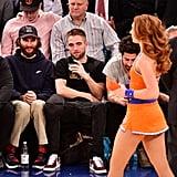 Robert Pattinson Watching Dancers at Knicks Game Nov. 2017