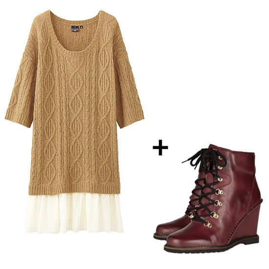 We love the juxtaposition of texture vs. soft layers vs. a menswear-inspired Winter boot. It's got all the makings of a feminine ensemble with a quirky, boyish twist. Aya Noguchi for Uniqlo Dip Balcony and Bed Tunic Dress ($50) + Diane von Furstenberg Sapna Lace-Up Leather Wedge Ankle Boots ($378)