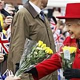 Queen Elizabeth II received flowers from the public in East London.