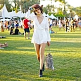 We spotted this long-sleeved lightweight H&M romper all over the festival grounds. We love the way it looked with the turquoise detail on a neutral fedora.