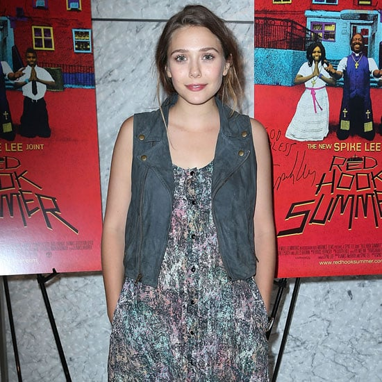 Elizabeth Olsen Wearing Colorful Print Dress