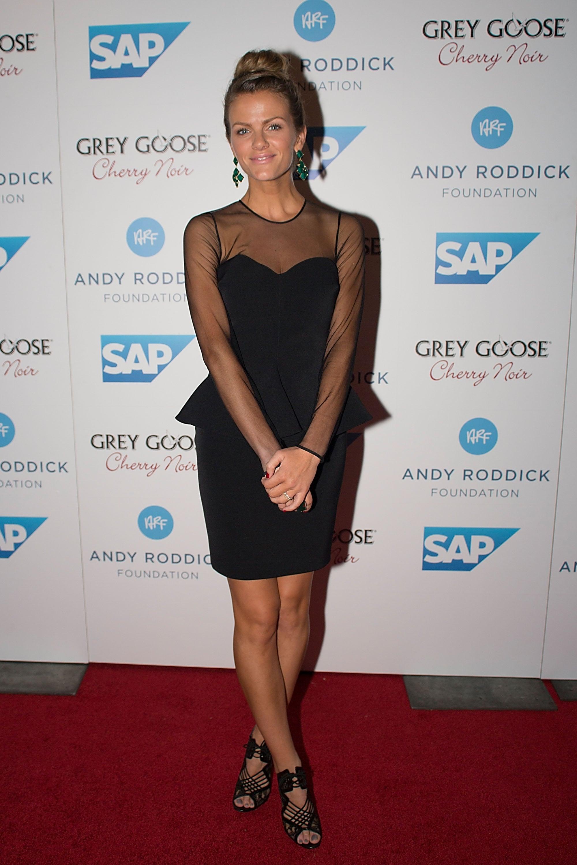 Brooklyn Decker in Black Peplum Dress at 2012 Andy Roddick Foundation Gala