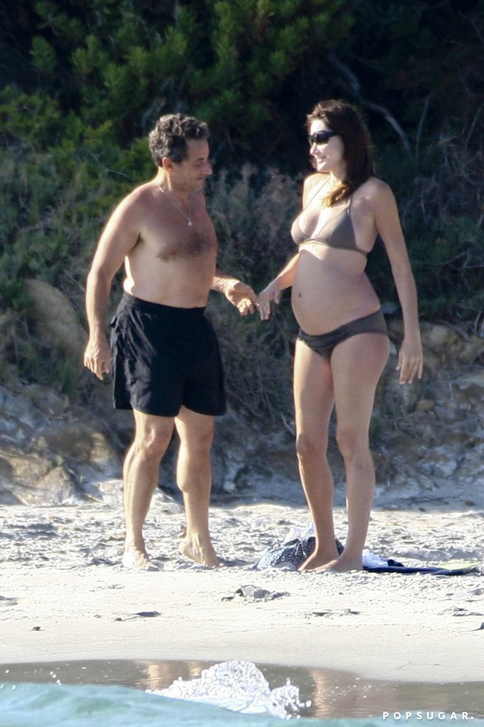Carla Bruni wasn't shy about baring her bump in a tiny bikini with her husband, then-French President Nicolas Sarkozy, in the French resort town of Fort de Brégancon.