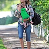 Natalie Portman left a friend's home with Aleph Millepied in her arms.