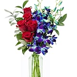 Bouquet of Fresh Red Roses and Exotic Blue Orchids