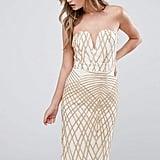 TFNC Sweetheart Pencil Dress In Diamond Sequin
