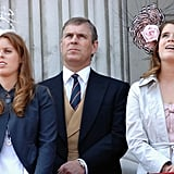 Pictured: Princess Beatrice, Prince Andrew, and Princess Eugenie.